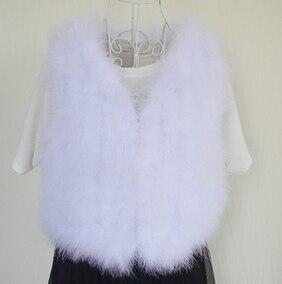 Новинка, женский жилет из натурального меха страуса, меховое пальто из страуса, Меховая куртка, много цветов,, низкая цена, F1092 - Цвет: white