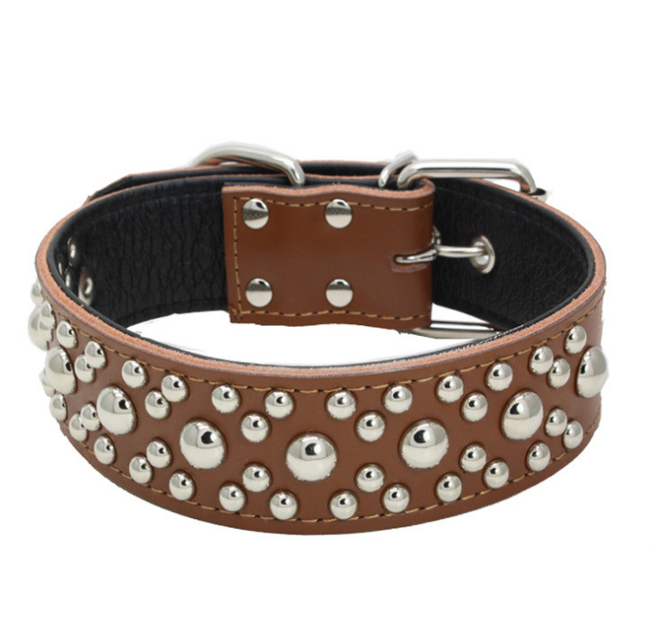 Pet Collar Industry Genuine Leather Neck Ring Embossed Leather Stick Bottom Mushroom Nail Pet Collar Dog Neck Ring