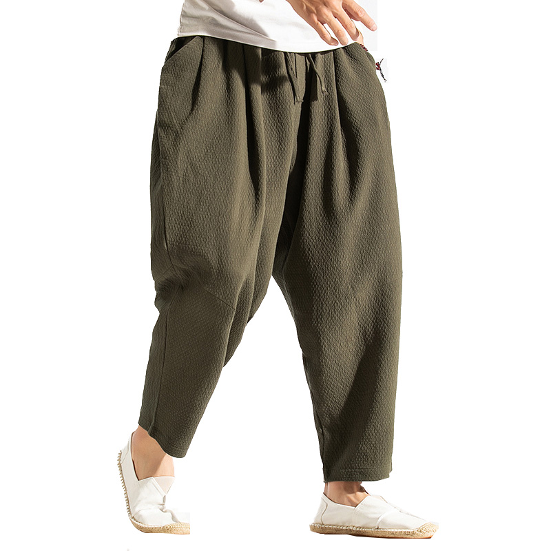 2019 Linen Harem Pants Men Cotton Linen Trousers Mens Wide Leg Track Pants Male HipHop Streetwear Jogger Pants Pantalon Hombre