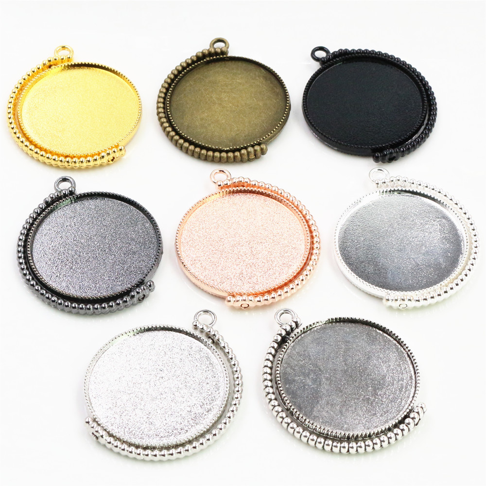 5pcs 30mm Inner Size Rotation Double Side 360 Degree Rotation 8 Colors Plated Cabochon Base Setting Charms Pendant