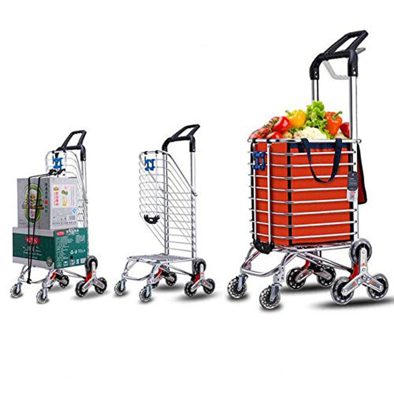 E-FOUR Stainless Steel Folding Shopping Cart Grocery Utility Lightweight Stair Climbing Wheels With Orange Waterproof Canvas Bag
