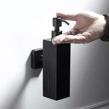 Настенный дозатор жидкого мыла из нержавеющей стали 304, бутылка для кухни, ванной комнаты, лосьона, ручной насос, черная подвесная бутылка 210 мл
