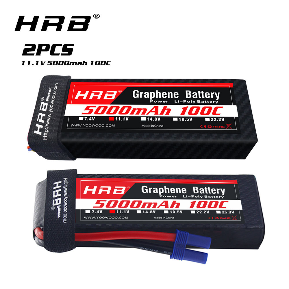 2pcs HRB Graphene 3S <font><b>11.1V</b></font> <font><b>5000mah</b></font> <font><b>Lipo</b></font> <font><b>Battery</b></font> 100C with XT60 Plug for RC Helicopter Airplane Car Drone Boat Truck Quadcopter image