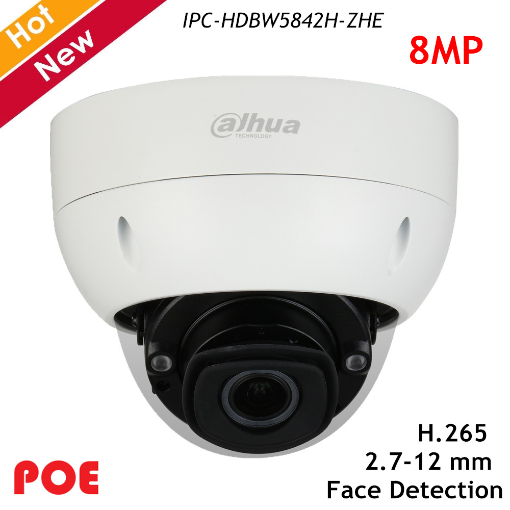 New Dahua 8MP IP Camera POE Pro AI IR Dome Network Camera 2.7-12mm Motorized lens Support People Counting and Face Detection