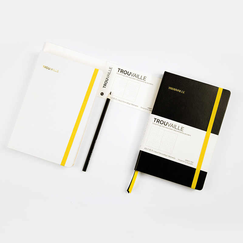 Business Fasion Band Notebook A5 Stippen Papieren Boek 128 Vellen Cool Zwart Wit