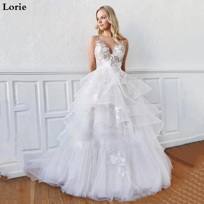 Lorie Boho Wedding Dress Beach A Line Princess Wedding Gowns Appliques Lace V Neck Tulle Romatic Bridal Dress