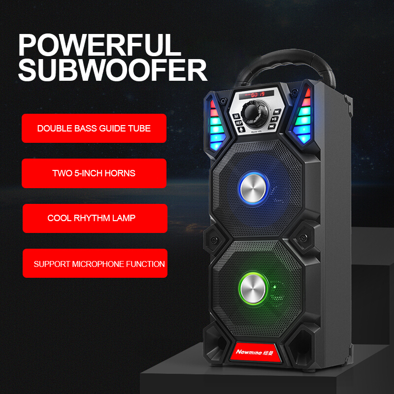 Newmine A1 Outdoor LED Light Bluetooth Speaker Wireless Support TF Card FM Mic Square Party Pull Rod KTV Portable Subwoofer 3