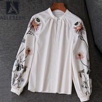 AELESEEN Spring Women 100%Cotton Blouse 2020 Fashion Flower Embroidery Shirts Ladies Loose Long Lantern Sleeve White Blouse