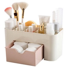 Plastic Makeup Organizer Dressing Table Jewelry Necklace Cosmetics Storage Container Drawer Cotton Pads Sundrie Box Home