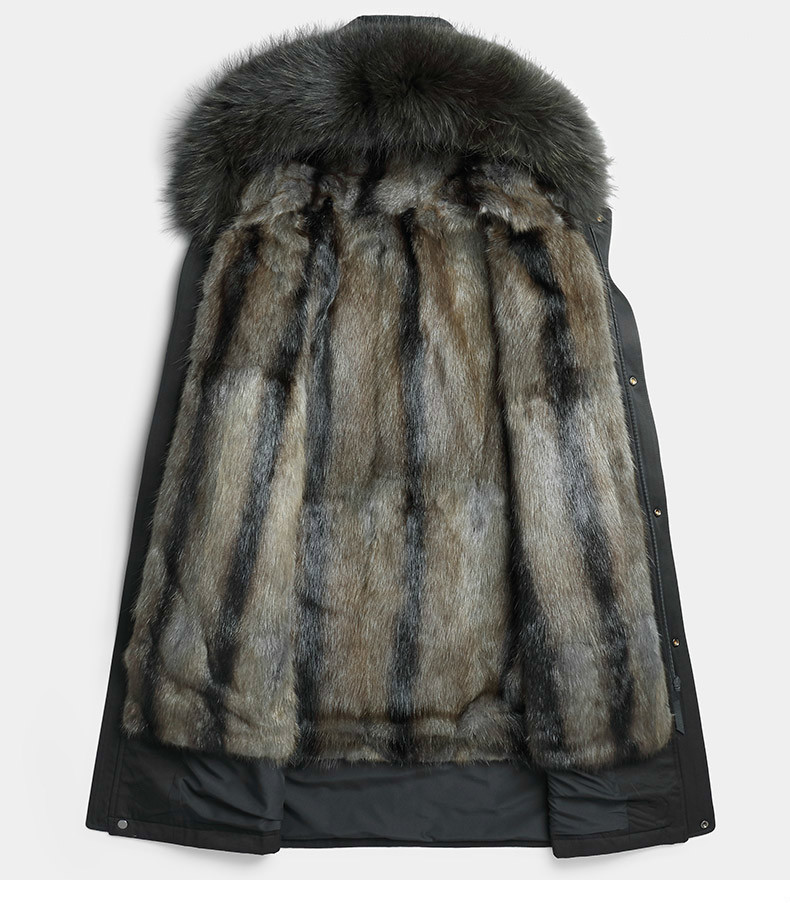 Parka Homme Winter Jacket Men Natural Mink Fur Liner Coat Mens Raccoon Fur Collar Parkas Plus Size JLK1819-1807 MY1382