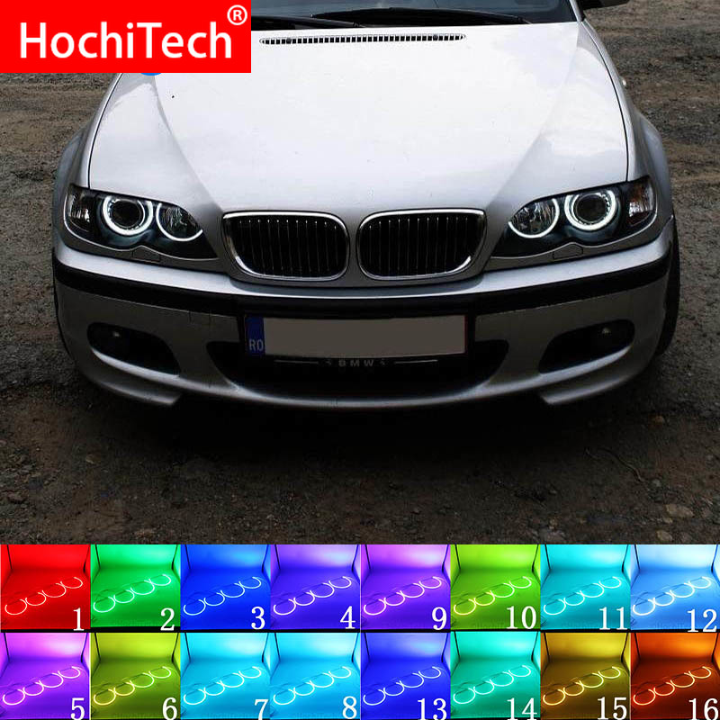 For BMW E46 1998 - 2005 With PROJECTORS Accessories Headlight Multi-color RGB LED Angel Eyes Halo Ring Eye DRL RF Remote Control