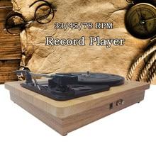 33/45/78 Rpm Platenspeler Antieke Grammofoon Draaitafel Disc Vinyl Rca Hoofdtelefoon Jack Hout Kleur Draagbare Fonograaf Speaker