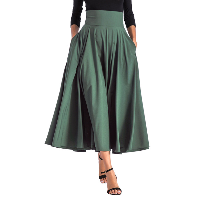 2020 New Fashion  Women Long Skirt Casual Spring  Summer Skirt womens Elegant Solid Bow-knot A-line Maxi Skirt Women Cothes (19)
