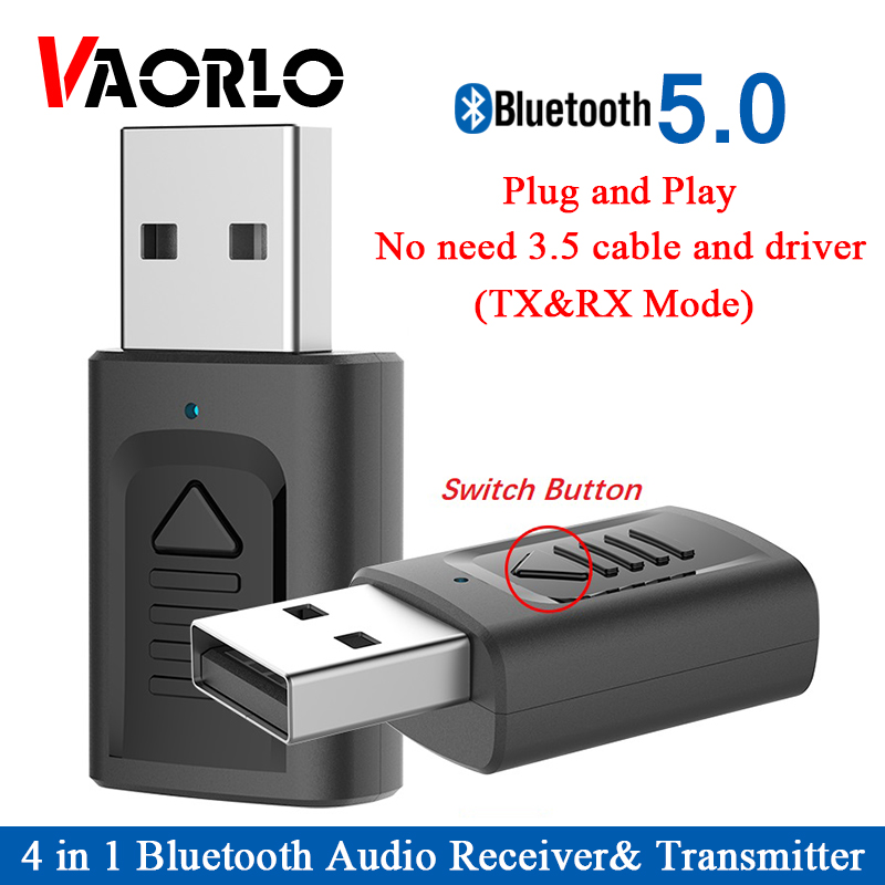 USB Bluetooth 5.0 Adapter 4 In 1 3.5mm AUX BT USB Bluetooth Audio Receiver Transmiitter Wireless Stereo DongleFor Car TV Speaker