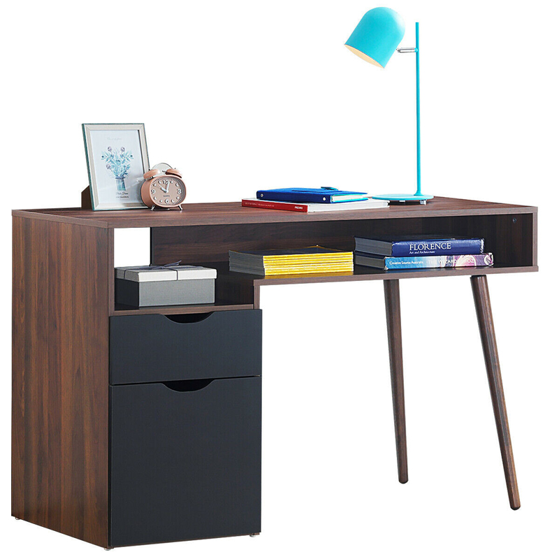 Computer Desk PC Writing Table Drawer & Cabinet With Wood Legs HW62990