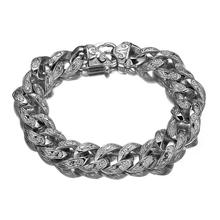 Granny Chic High Quality Silver Rolo Chain With Stainless Steel  Bracelet Fashion Mens Cuff Jewelry 15mm*9