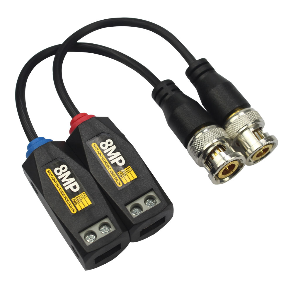 1pair HD Passive Video Balun Connector 8MP Single Channel Transmission Twisted Cctv Cable For AHD/CVI/TVI Video Signal