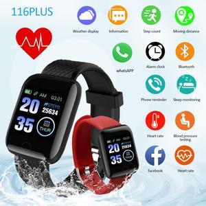 Montre intelligente 116 Plus hommes femmes tensiomètre étanche Fitness Tracker Bracelet fréquence cardiaque Smartwatch pour Android IOS