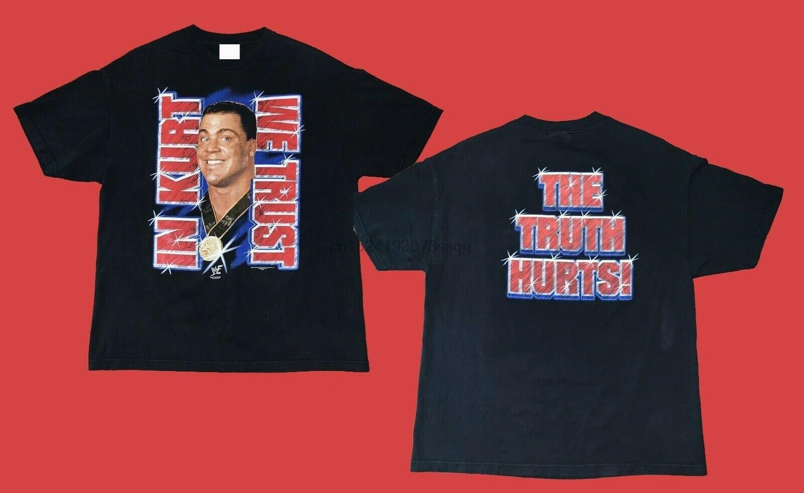 RARE VINTAGE Kurt Angle WWF 2001 In Kurt We Trust T Shirt SIZE S-2XL REPRINT(China)