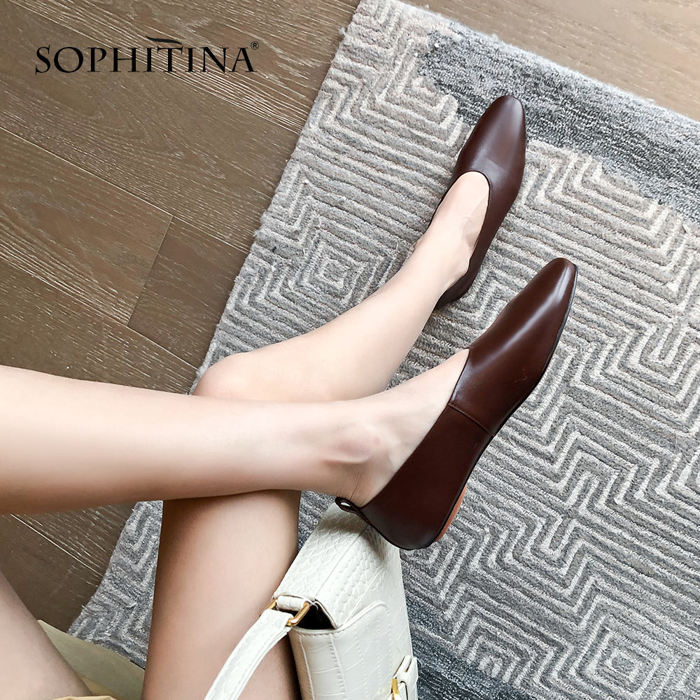 SOPHITINA Spring Autumn Women Flats Pointed Toe Oxfords Slip-On Comfortable Shallow Shoes Cow Leather Casual Stylish Flats SO313