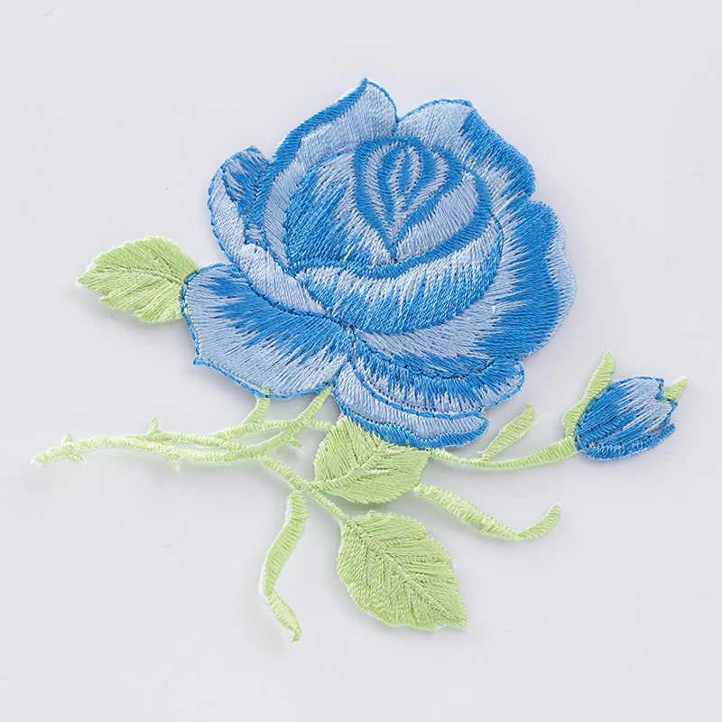 1PC Mawar Bunga Bunga Patch untuk Pakaian Besi Pada Aplikasi Bordir Pakaian Patchwork Sticker Kustom Jahit Aksesoris