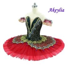 Adult Female Black Burgundy Professional Ballet Tutus Women La esmeralda Performance Costume Pancake Tutu Girls Paquita