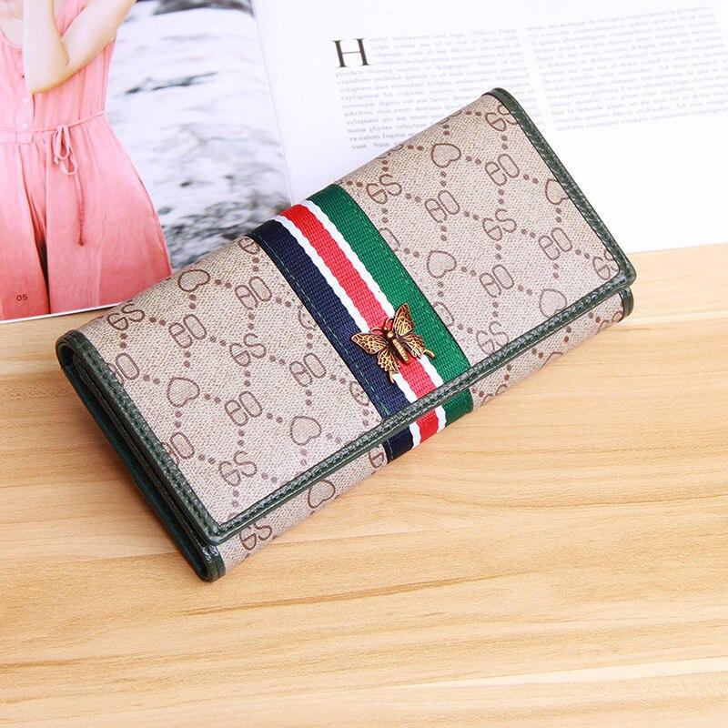 Женский кошелек, красный, зеленый, в полоску, длинный, европейский, американский, популярный, ручной кошелек, модный, с принтом, тройная скидка, кошелек, мобильный телефон, сумка|Кошельки|   | АлиЭкспресс