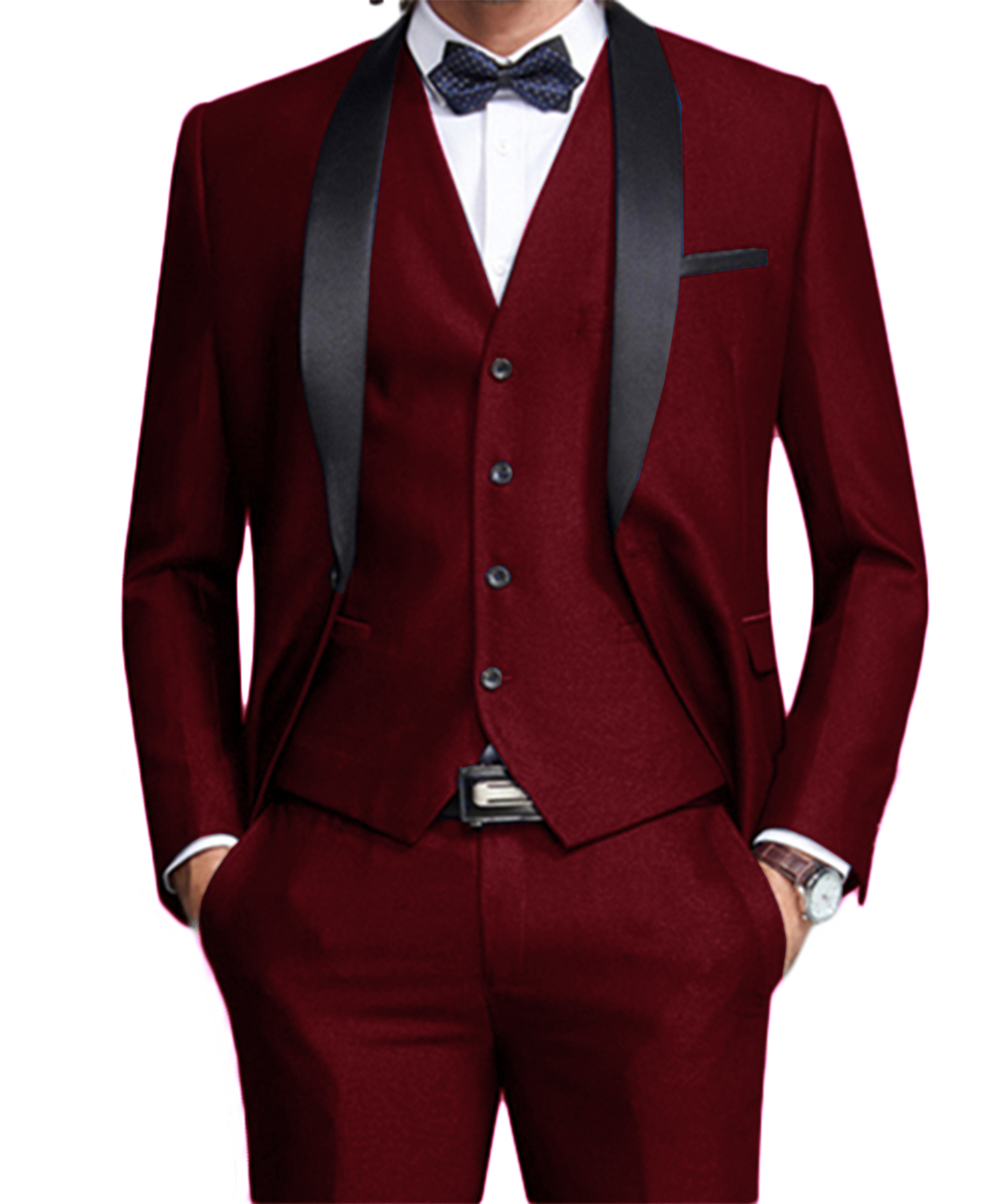 Mens Classic 3 Pieces Burgundy Red Tailored Wedding Tux Gents Formal Slim Fit Business Suit