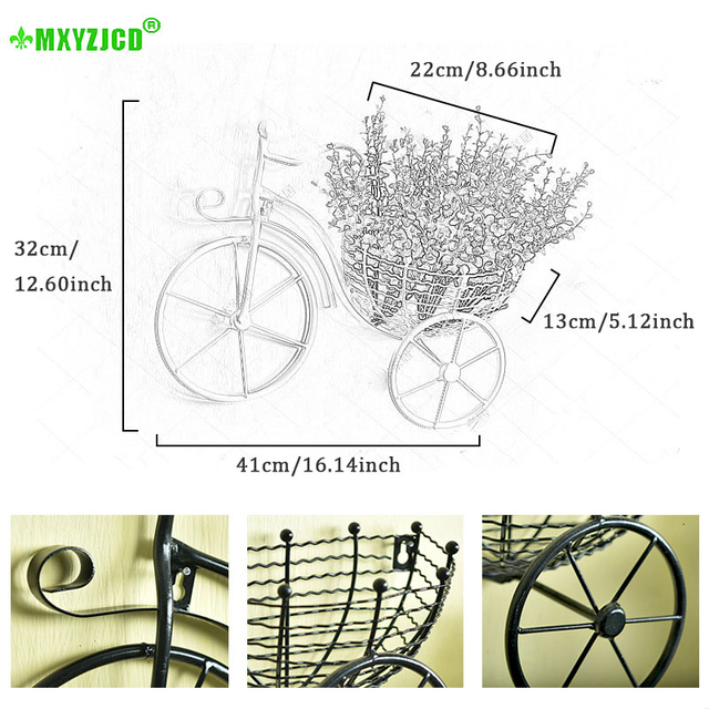 Wrought Iron Bicycle Wall Hanging Flower Basket Suspension Flower Arrangement Container Home Decor Art Decoration 2