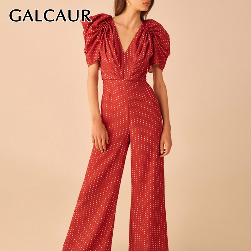 GALCAUR Elegant Dot Hit Color Jumpsuit Female V Neck Puff Sleeve High Waist Tunic Jumpsuits Women 2020 Fashion Spring Clothes