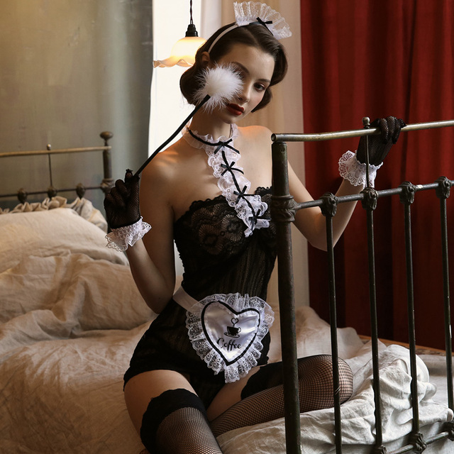 Valentines Day Sexy Maid Uniform Seduction Small Chest Woman Black Costumes Temptation See Through Lace Bow Lingerie Underwear