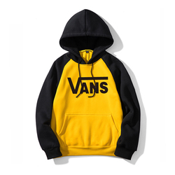 Vans -Autumn/winter fashion print hoodie loose and thick, printed with letters, spliced multi-color casual men's wear