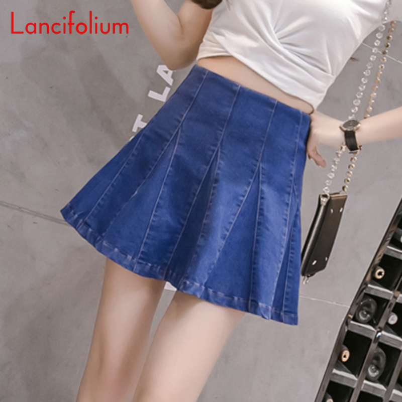 High Waist Jeans Skirt Women Harajuku Korean Summer Sexy Pleated Unif Mini Skirt Ladies Kawaii Skater A Line Blue Denim Skirt(China)