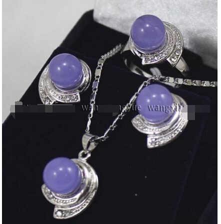 Gorący bubel nowy-Lavender Alexandrite kolczyki i pierścionek i naszyjnik zestaw wisiorków ^ ^ ^ @ ^ 18K GP styl grzywny jewe szlachetny naturalny jade (A0