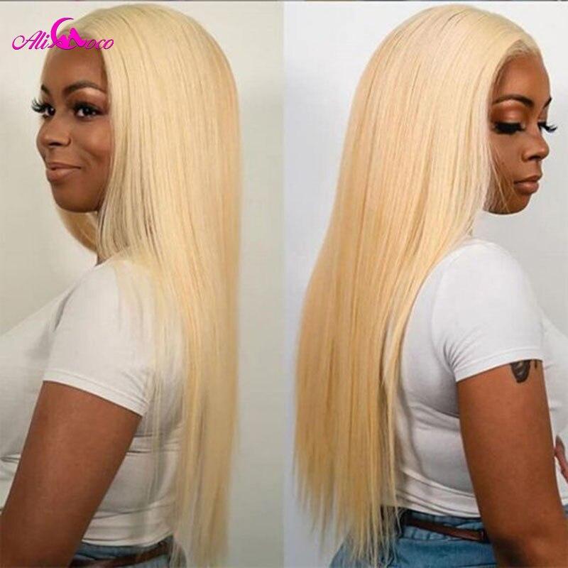 Peruwiański Remy prosto 13x4 koronkowe przednie peruki z ludzkich włosów 613 miód blond 8 - 30 Cal kolorowe niebieski różowy zielony czerwony Glueless peruka