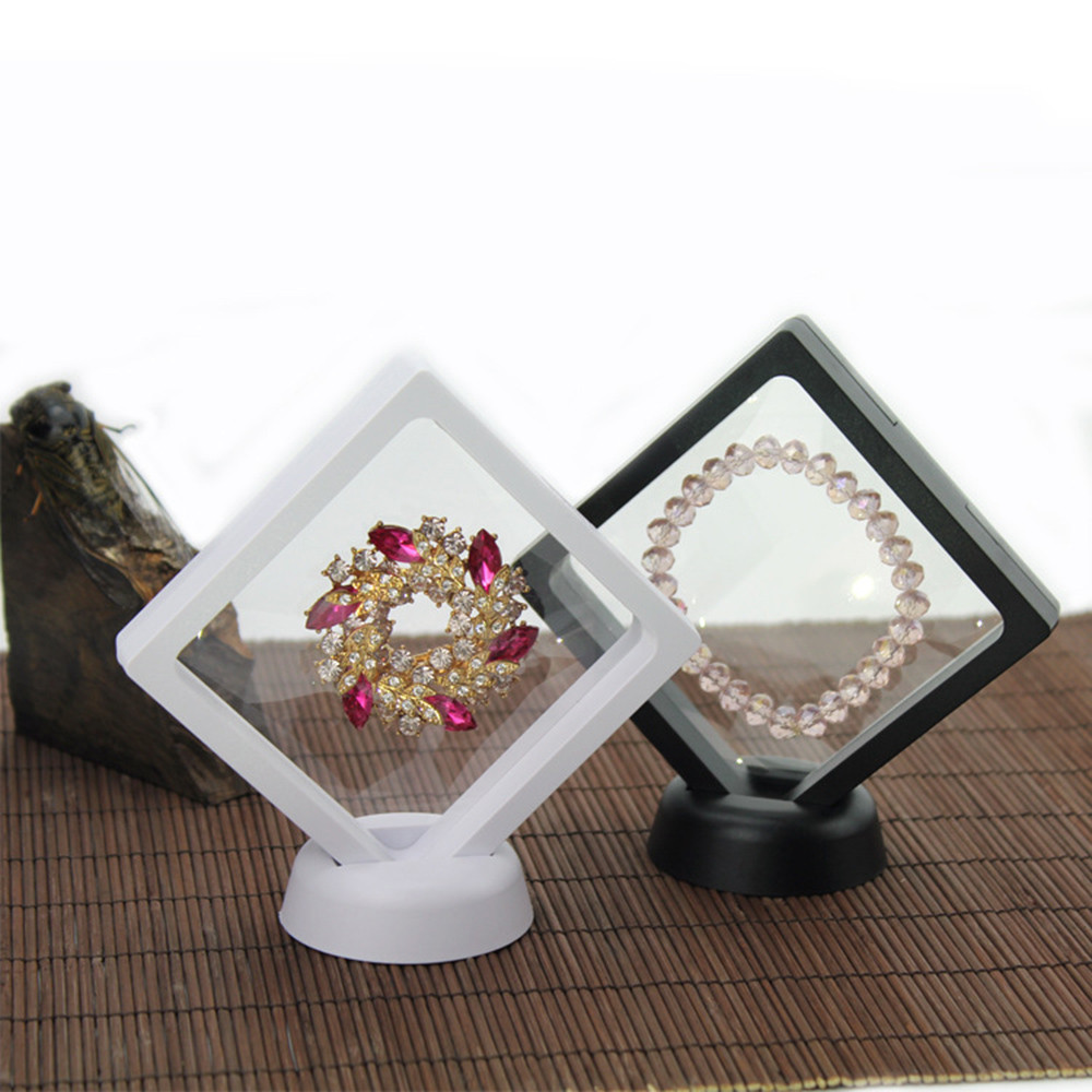 Transparent Jewelry Display Box Ring Suspended Floating Holder Case Jewellery Coins Gems Jewelery Stand Cases
