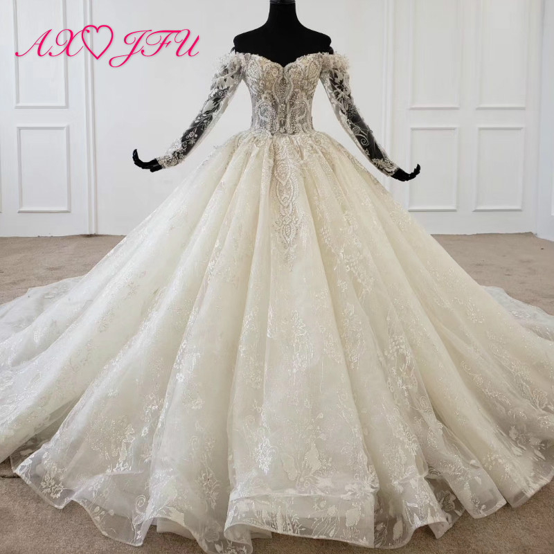 AXJFU Luxury Princess White Lace Boat Neck Bride Long Sleeve Illusion Beading Crystal Blue Flower Champagne Wedding Dress 1699