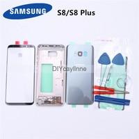 Piezas completas para Samsung Galaxy S8 Plus G955, carcasa completa, cubierta trasera, lente de cristal de pantalla frontal y Marco medio