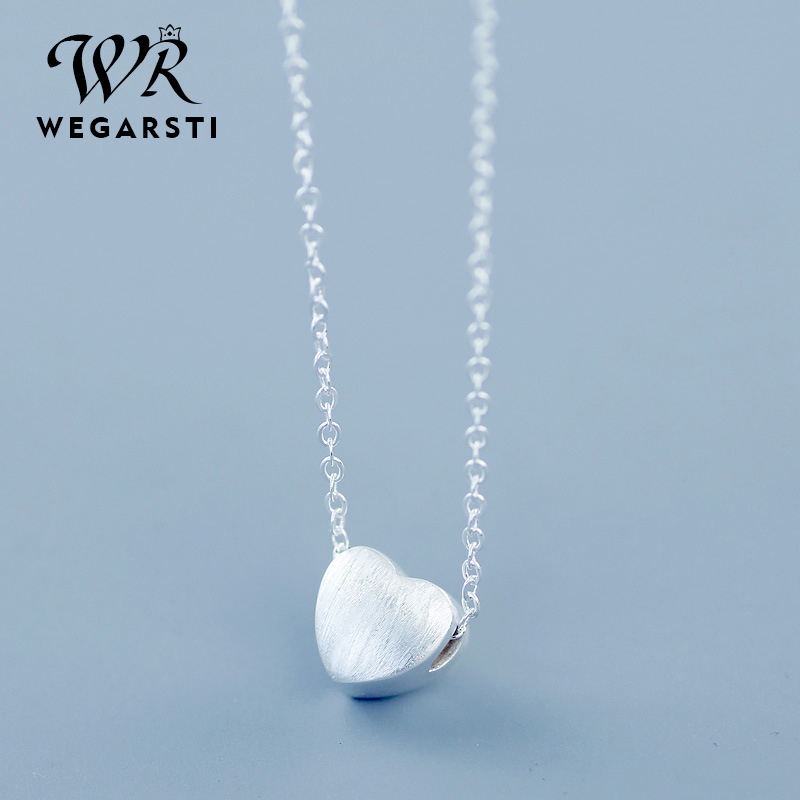 WEGARSTI Pure 925 Sterling Silver Heat Charm Pendant Necklaces For Women New Fashion Jewely Small Chokers Necklaces Fine Jewelry