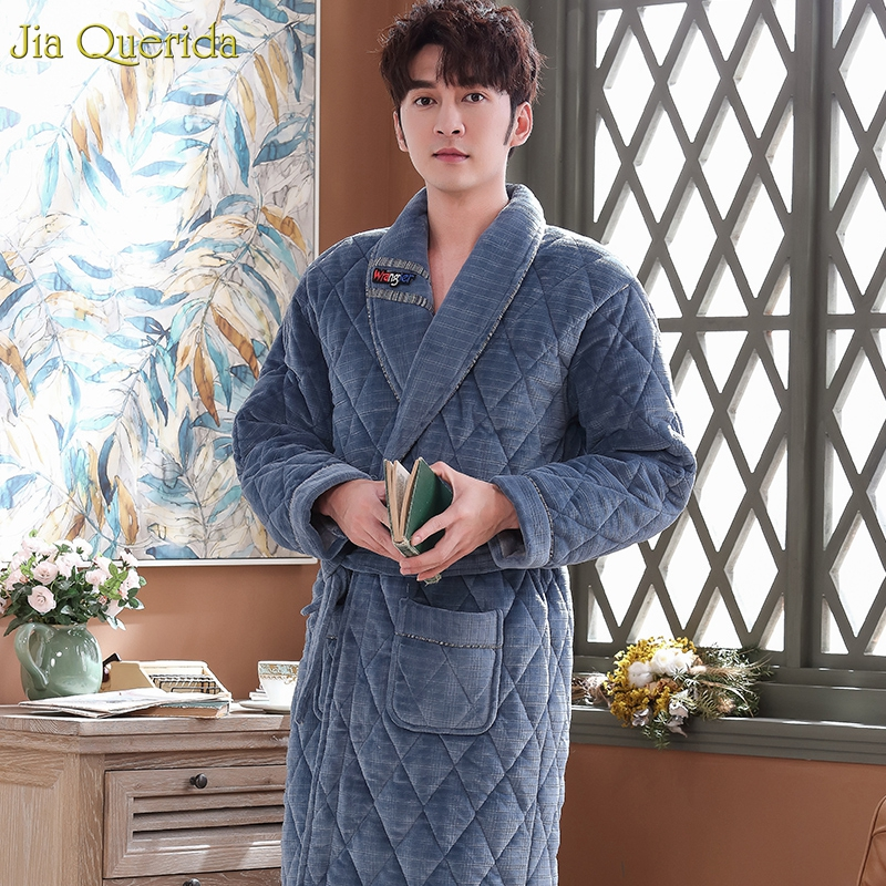 Men Kimono Winter Velvet Robe Thick 3 Layer Padded Long Sleeve Night Dressing Gown Men Long Bath Robe Embossing Men Pajama Robes