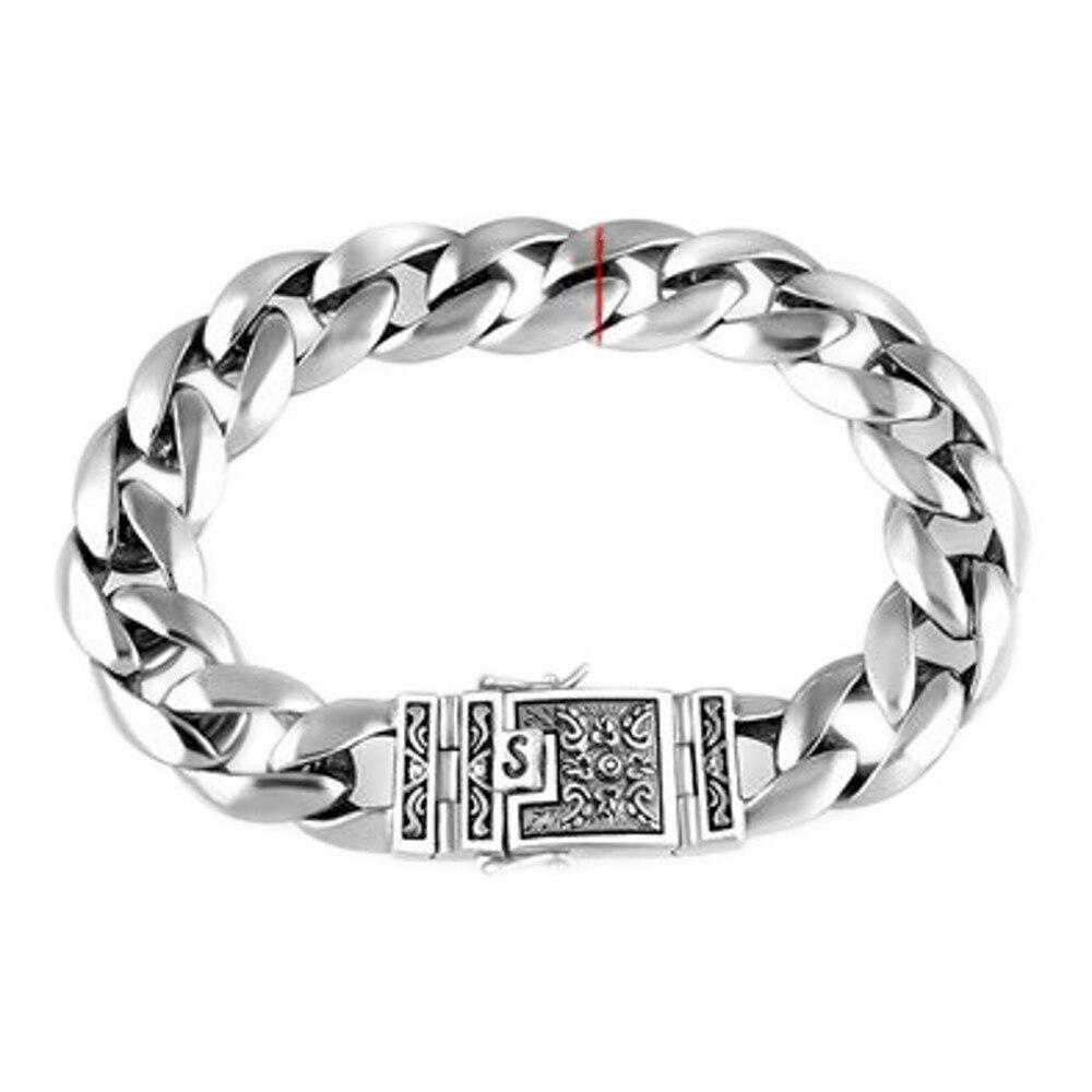 BOCAI nouveau 100% réel 925 argent bijoux 12mm hommes Bracelet S925 argent plat chaîne mode rétro Thai argent Bracelet pour hommes