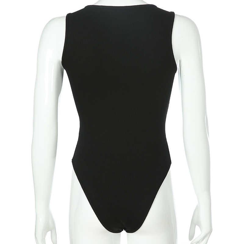 Darlingaga siyah kolsuz nervürlü örme yaz Bodysuit kadın düz temel Bodycon tulum vücut kadın moda Bodysuits Tops