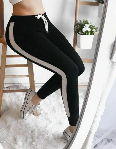 Women Loose Running Fitness Sport Black Striped Pants High Waist Jogger Skinny Trousers Hip-Hop Sweatpants Plus Size 5 Colors