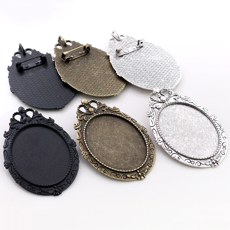 New Fashion 5pcs 30x40mm Inner Size Antique Silver Black And Bronze Pin Brooch Pierced Style Base Setting Pendant