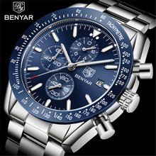 BENYAR 2019 мужские часы Топ люксовый бренд Бизнес Сталь Кварцевые Часы повседневные водонепроницаемые мужские наручные часы Relogio Masculino