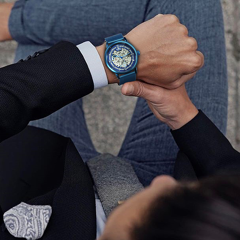 Hc5ae3271bb404bf9bcbeb1bae3dae12cE WINNER Official Fashion Casual Men Mechanical Watch Blue Mesh Strap Ultra Thin Skeleton Mens Watches Top Brand Luxury Clock 2019