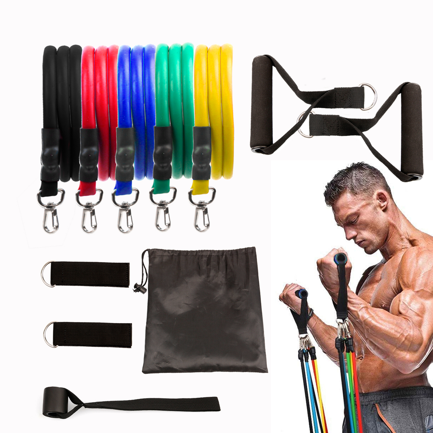 11pcs/set Trx Band Resistance Bands Fitness Set Sport Elastic Rubber Band Workout Pedal Excerciser Body Training Workout Yoga