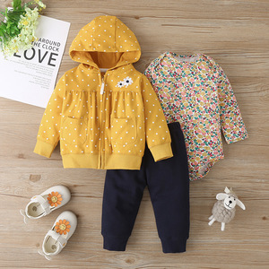Carter's Infant children's hooded jacket children suit romper trouserss weater three-piece suit Baby Girl Clothes Baby Girl Romp