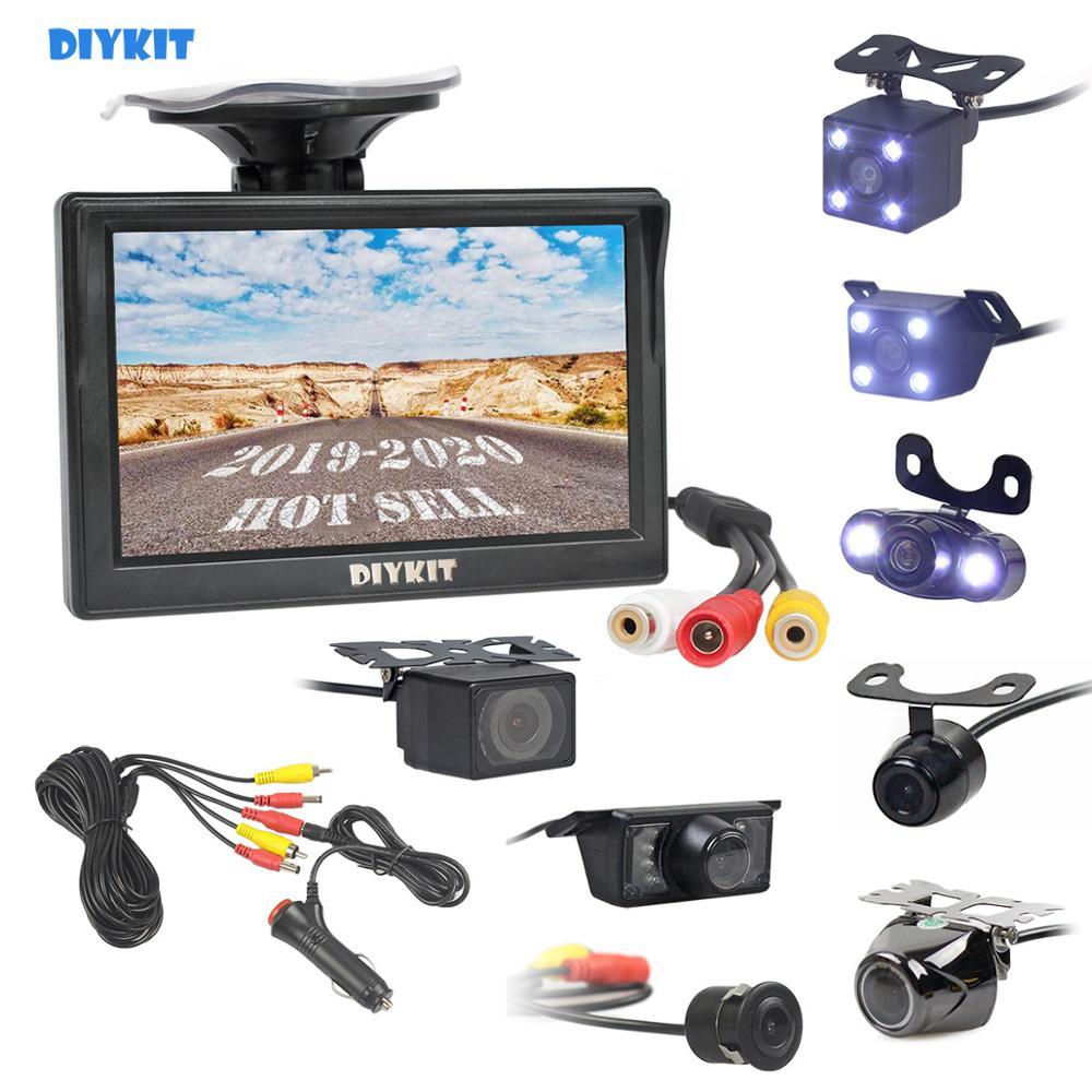 DIYKIT 5 автомобильный монитор заднего вида Автостоянка Vedio + LED камера заднего вида ночного видения HD камера заднего вида с монитором