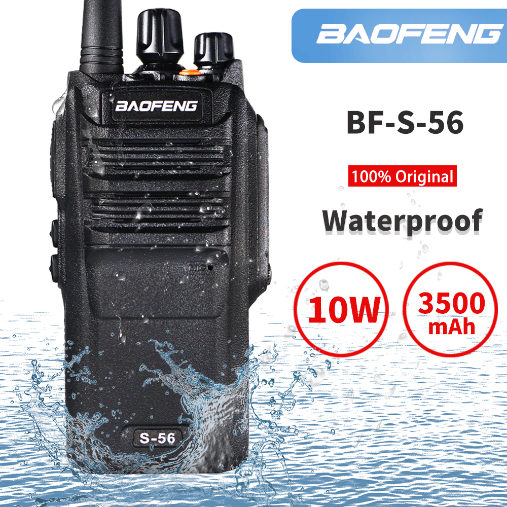 10W Baofeng S-56 Walkie Talkie Waterproof UHF Band 400-470MHz Handheld Hf Amateur Transceiver 3500mAh Two Way Radio рация BF9700